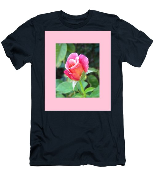 Rosebud With Border Men's T-Shirt (Slim Fit) by Mary Ellen Frazee