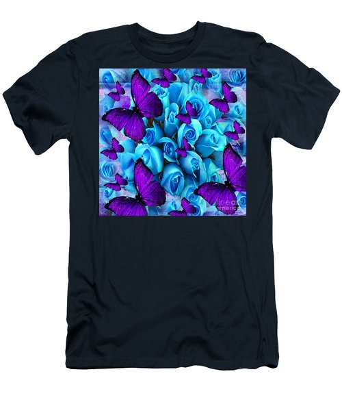 Roses And Purple Butterflies Men's T-Shirt (Slim Fit) by Saundra Myles