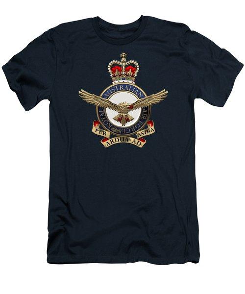 Royal Australian Air Force -  R A A F  Badge Over Blue Velvet Men's T-Shirt (Athletic Fit)
