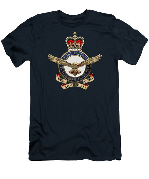 Royal Australian Air Force -  R A A F  Badge Over Blue Velvet Men's T-Shirt (Athletic Fit)