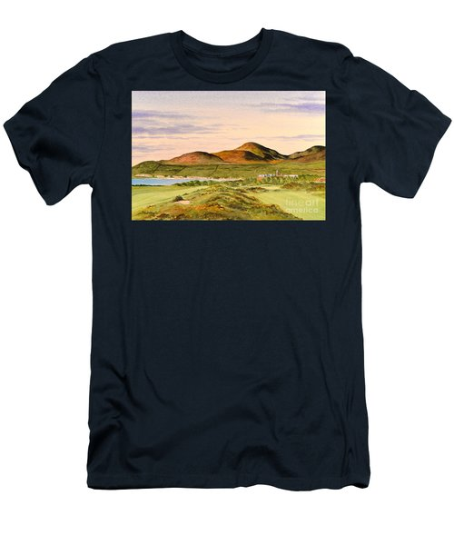 Men's T-Shirt (Athletic Fit) featuring the painting Royal County Down Golf Course by Bill Holkham