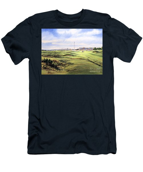 Men's T-Shirt (Athletic Fit) featuring the painting Royal Troon Golf Course by Bill Holkham