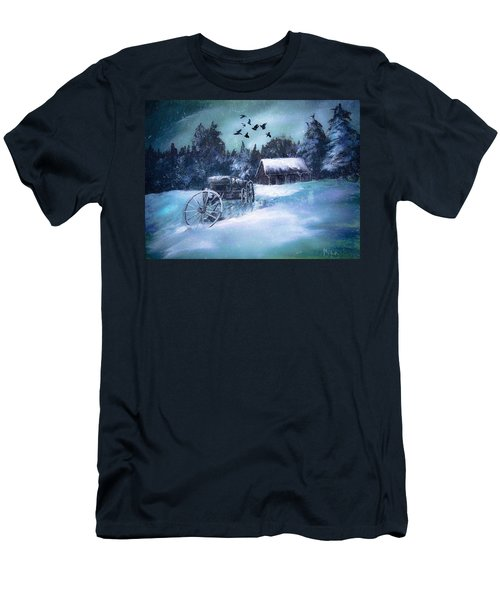 Rustic Winter Barn  Men's T-Shirt (Slim Fit)