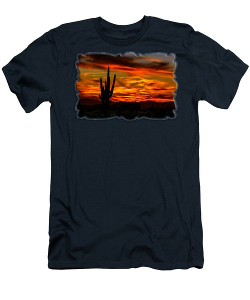 Men's T-Shirt (Athletic Fit) featuring the photograph Saguaro Sunset H51 by Mark Myhaver