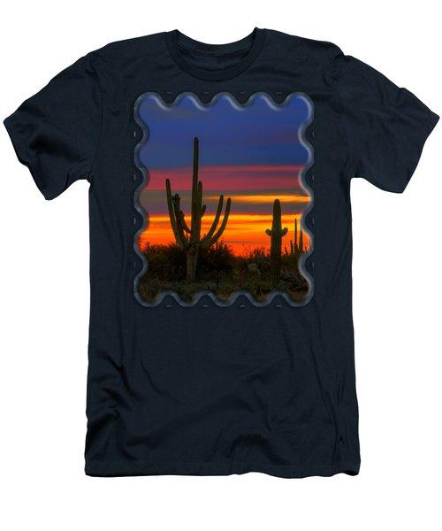Saguaro Sunset V30 Men's T-Shirt (Slim Fit) by Mark Myhaver