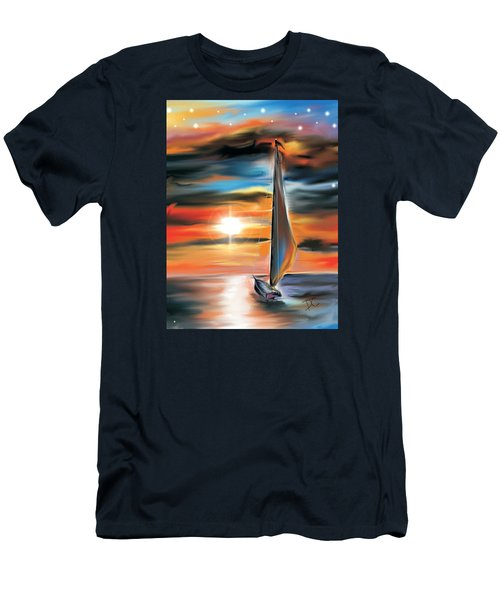 Men's T-Shirt (Athletic Fit) featuring the digital art Sailboat And Sunset by Darren Cannell