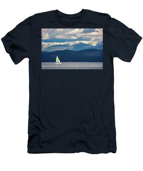 Sailing Flathead Lake Men's T-Shirt (Athletic Fit)