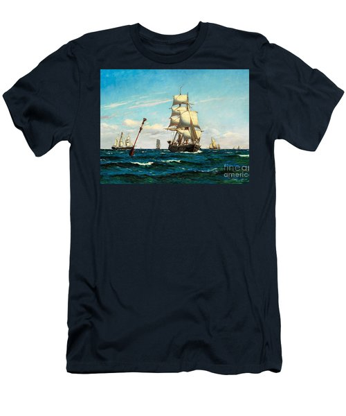 Men's T-Shirt (Slim Fit) featuring the painting Sailing Ships At Sea by Pg Reproductions