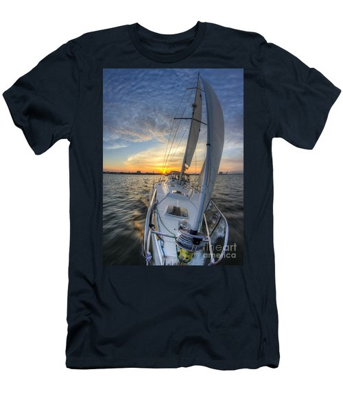Sailing Sunset Sailboat Fate Charleston  Men's T-Shirt (Athletic Fit)