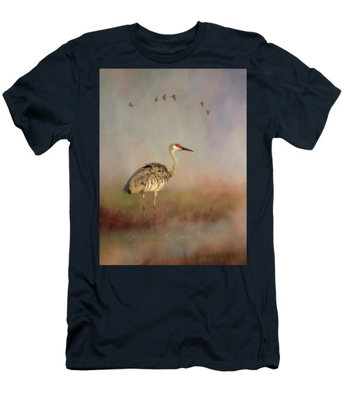 Sandhill Crane - Painterly Vertical Men's T-Shirt (Athletic Fit)