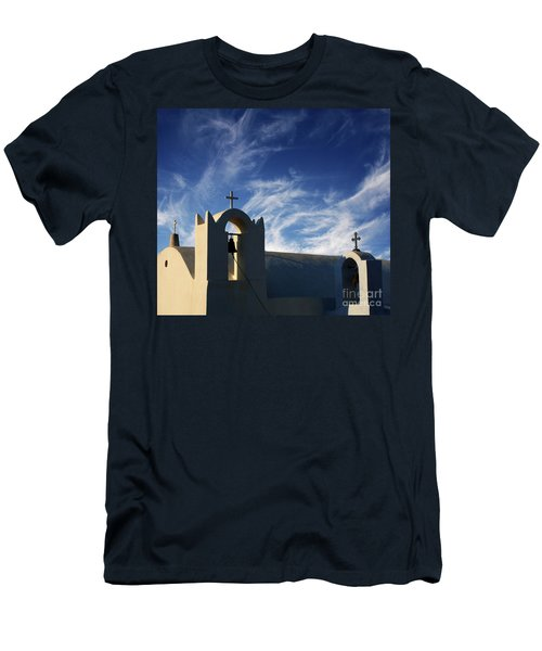 Men's T-Shirt (Slim Fit) featuring the photograph Santorini Greece Architectual Line 3 by Bob Christopher