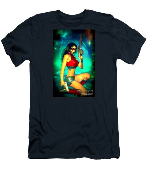 Sci-fi Brunette With Two Guns Men's T-Shirt (Athletic Fit)