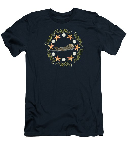 Sea Otter Mandala Men's T-Shirt (Athletic Fit)