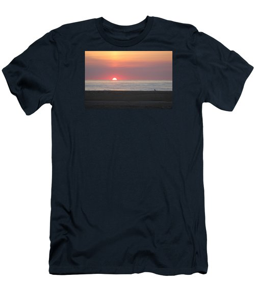 Men's T-Shirt (Slim Fit) featuring the photograph Seagull Watching Sunrise by Robert Banach