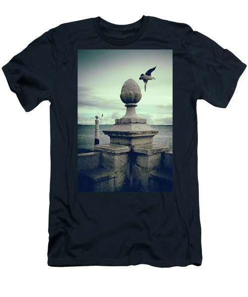 Men's T-Shirt (Slim Fit) featuring the photograph Seagulls In Columns Dock by Carlos Caetano