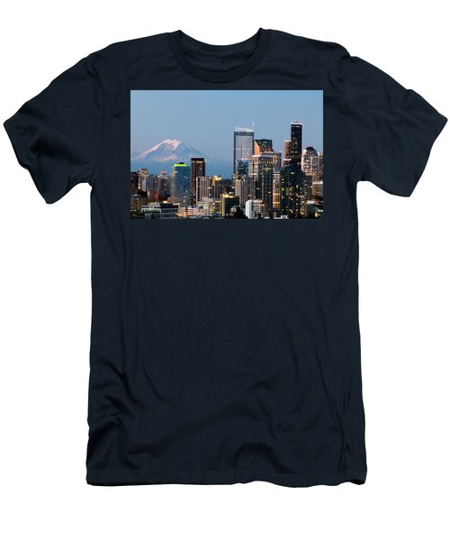Seattle At First Light I Men's T-Shirt (Slim Fit) by E Faithe Lester