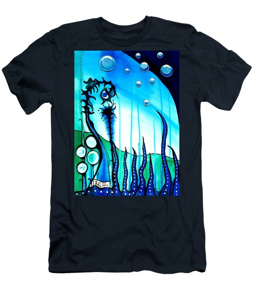 Men's T-Shirt (Slim Fit) featuring the painting Seaweed - Art By Dora Hathazi Mendes by Dora Hathazi Mendes