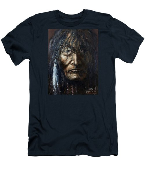 Men's T-Shirt (Slim Fit) featuring the painting Shaman by Arturas Slapsys