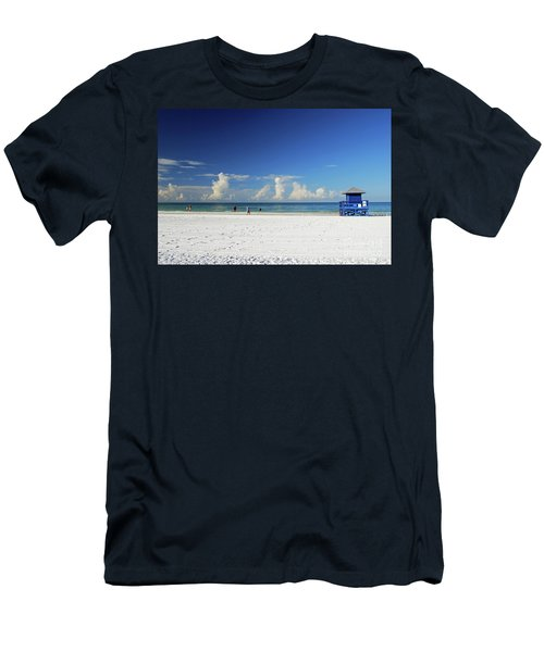 Men's T-Shirt (Athletic Fit) featuring the photograph Siesta Key Life Guard Shack by Gary Wonning