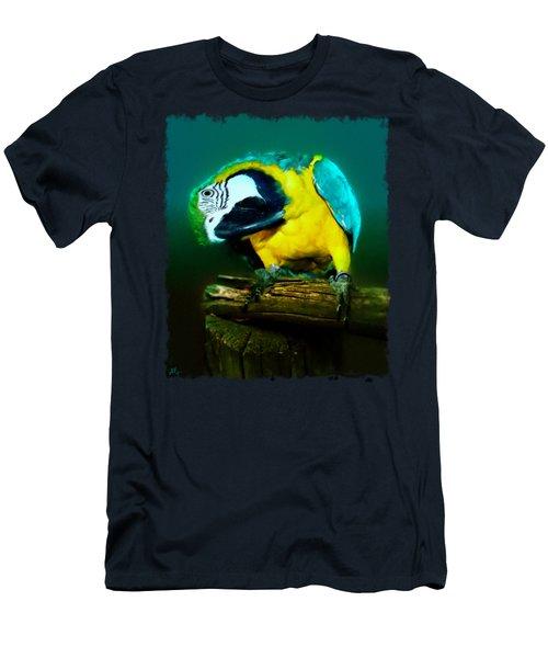 Silly Maya The Macaw Parrot Men's T-Shirt (Slim Fit) by Linda Koelbel
