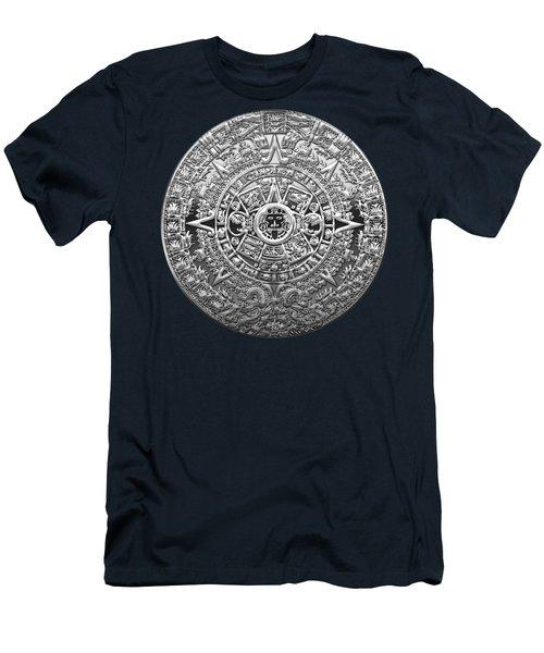Silver Mayan-aztec Calendar On Blue Men's T-Shirt (Athletic Fit)