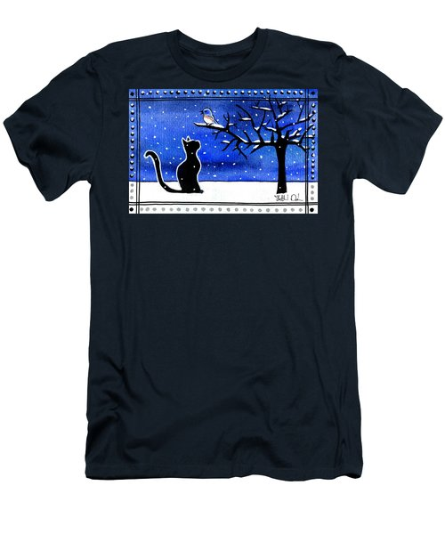 Sing For Me - Black Cat Card Men's T-Shirt (Athletic Fit)