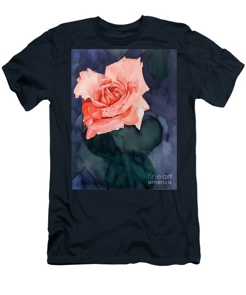Watercolor Of A Magic Bright Single Red Rose Men's T-Shirt (Athletic Fit)