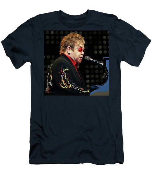 Sir Elton John At The Piano Men's T-Shirt (Athletic Fit)