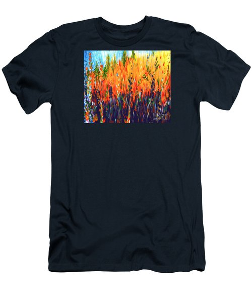Men's T-Shirt (Slim Fit) featuring the painting Sizzlescape by Holly Carmichael