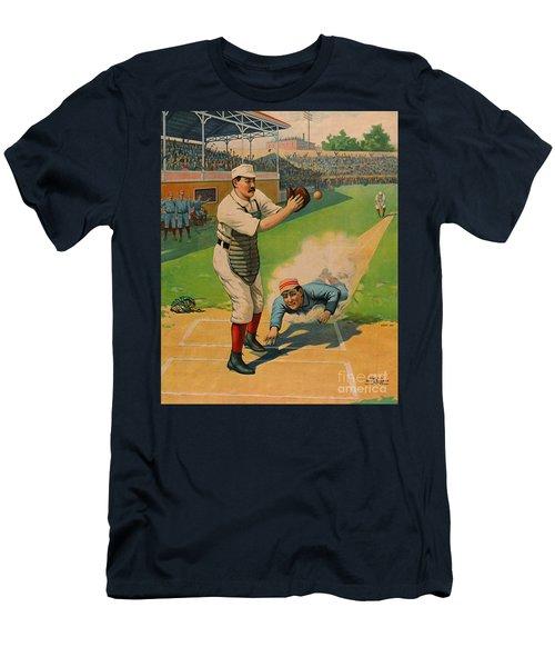Sliding Home 1897 Men's T-Shirt (Slim Fit) by Padre Art