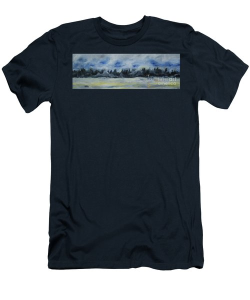 Men's T-Shirt (Slim Fit) featuring the painting Slow Sail Home by Cynthia Lagoudakis
