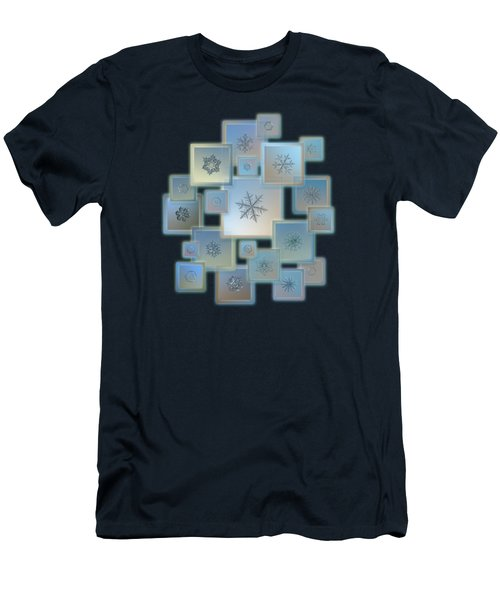 Men's T-Shirt (Slim Fit) featuring the photograph Snowflake Collage - Bright Crystals 2012-2014 by Alexey Kljatov