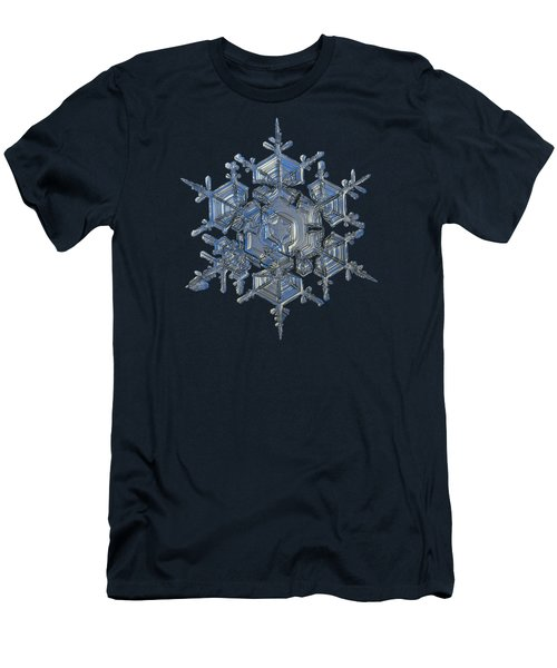 Men's T-Shirt (Slim Fit) featuring the photograph Snowflake Photo - Crystal Of Chaos And Order by Alexey Kljatov