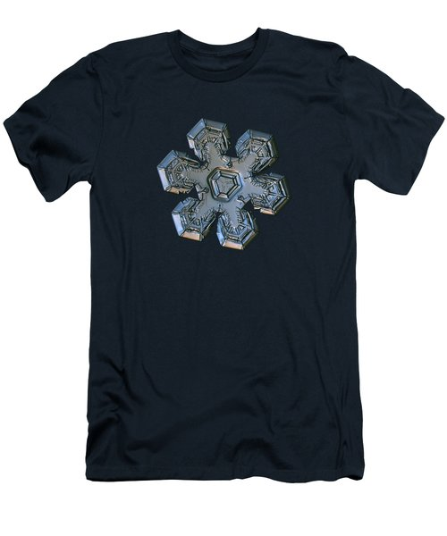 Men's T-Shirt (Slim Fit) featuring the photograph Snowflake Photo - Massive Silver by Alexey Kljatov