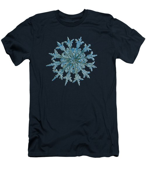 Men's T-Shirt (Slim Fit) featuring the photograph Snowflake Photo - Twelve Months by Alexey Kljatov