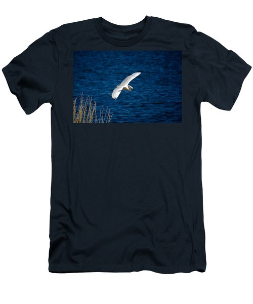 Soaring Snowy Egret  Men's T-Shirt (Slim Fit) by DigiArt Diaries by Vicky B Fuller