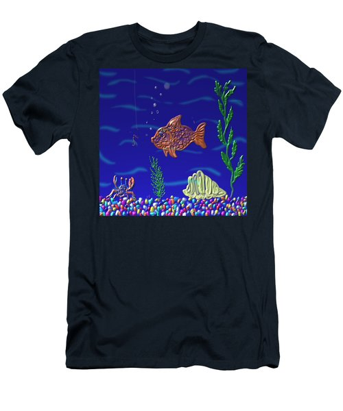 Men's T-Shirt (Slim Fit) featuring the painting Something Fishy by Kevin Caudill