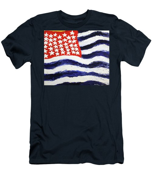Men's T-Shirt (Slim Fit) featuring the painting Something's Wrong With America by Thomas Blood