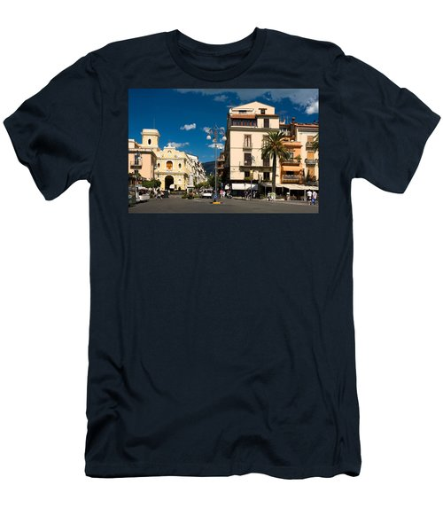 Sorrento Italy Piazza Men's T-Shirt (Slim Fit) by Sally Weigand