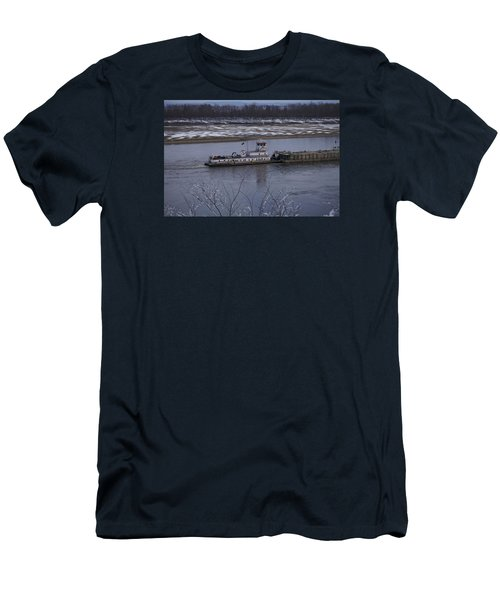 Men's T-Shirt (Slim Fit) featuring the photograph Southbound Barges by Jane Eleanor Nicholas