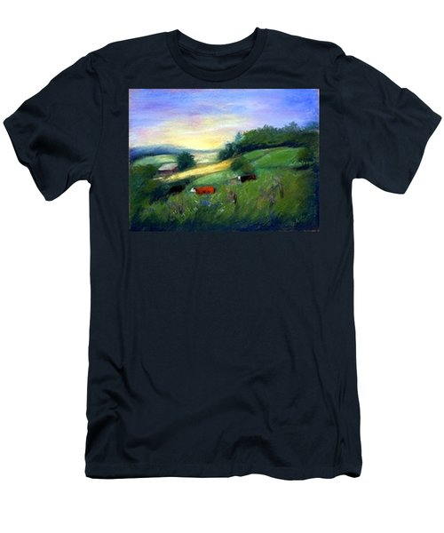 Men's T-Shirt (Slim Fit) featuring the painting Southern Ohio Farm by Gail Kirtz