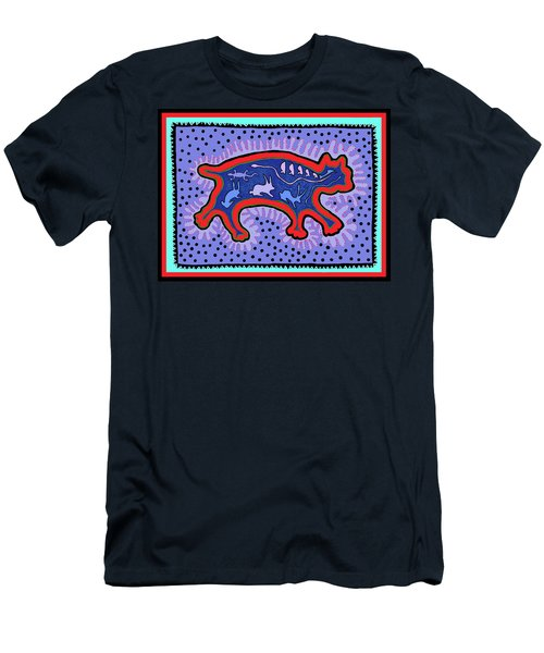 Men's T-Shirt (Athletic Fit) featuring the digital art Southwest Desert Feral Cat by Vagabond Folk Art - Virginia Vivier