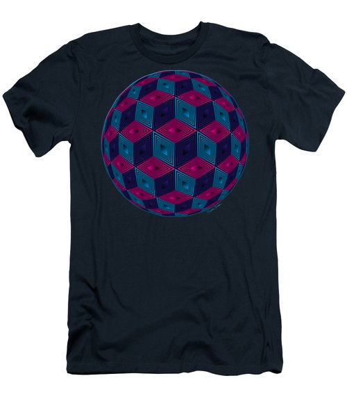 Spherized Pink Purple Blue And Black Hexa Men's T-Shirt (Athletic Fit)