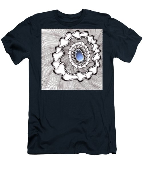 Men's T-Shirt (Athletic Fit) featuring the drawing Spinning Gemstone Flower by Jan Steinle