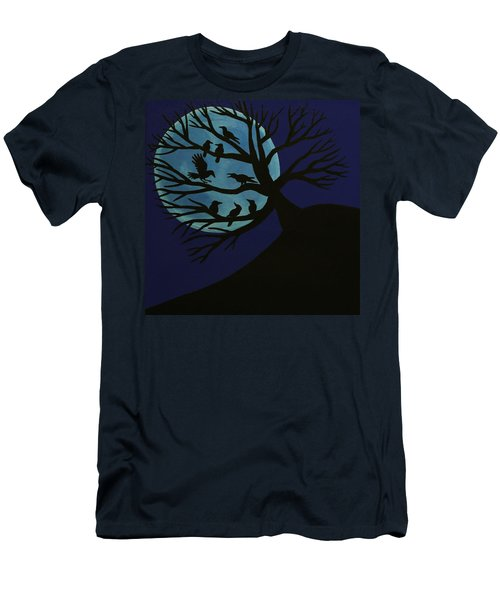 Spooky Raven Tree Men's T-Shirt (Athletic Fit)