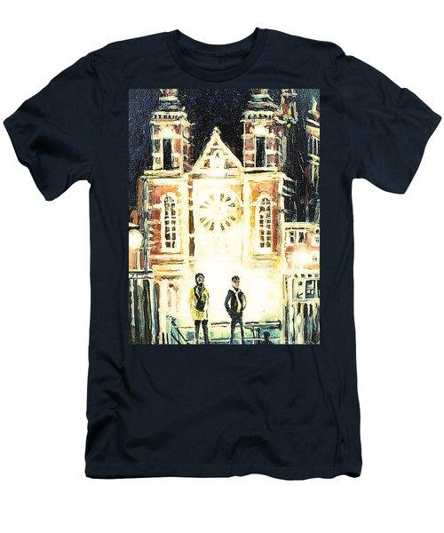Men's T-Shirt (Slim Fit) featuring the drawing St Nicolaaskerk Church by Linda Shackelford