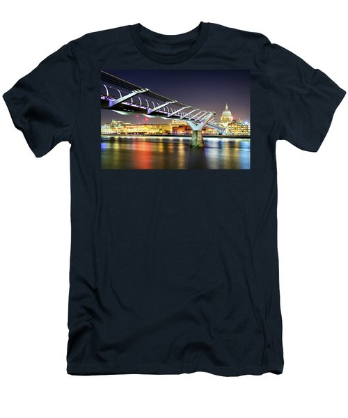 St Paul's Cathedral During Night From The Millennium Bridge Over River Thames, London, United Kingdom. Men's T-Shirt (Athletic Fit)