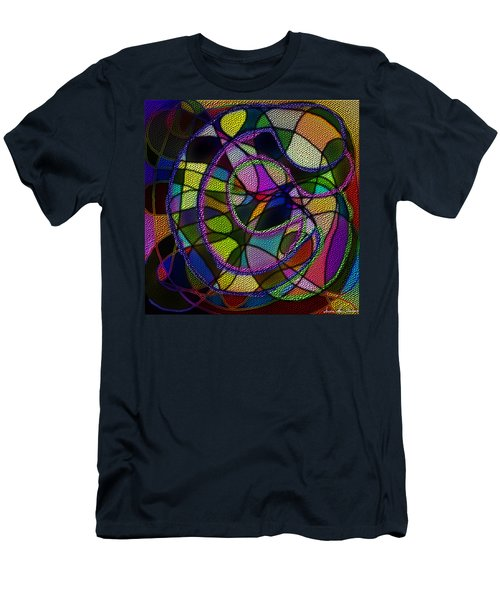 Men's T-Shirt (Athletic Fit) featuring the digital art Stained Glass Father Mother Child by Iowan Stone-Flowers