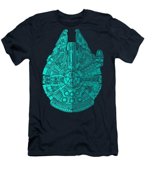 Star Wars Art - Millennium Falcon - Blue 02 Men's T-Shirt (Slim Fit)