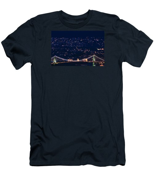 Men's T-Shirt (Slim Fit) featuring the photograph Starry Lions Gate Bridge - Mdxxxii By Amyn Nasser by Amyn Nasser